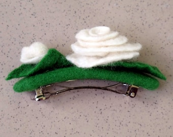 """White Rose"" flower felted hair clip No. 005"