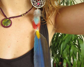 Single Long Blue and Yellow Red Feathers Earring with natural feathers and seeds 28cm