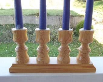 Christmas candelabra. Wood candelabra. Xmas candelabra.  Wooden Candelabra. Candles Holder. 4 Candle candelabra. Swedish Vintage 1970s