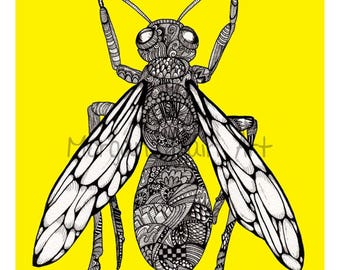 Yellow Wasp Art Print
