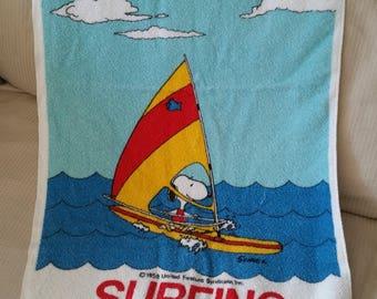 Vintage Snoopy Surfing Towel, Beach Towel