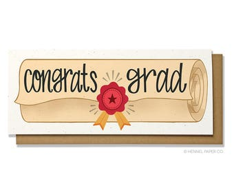 Graduation Card - Grad Card - Diploma Card - High School Grad - College Grad - Class of 2018 - Congrats Grad - Hennel Paper Co. - GR5