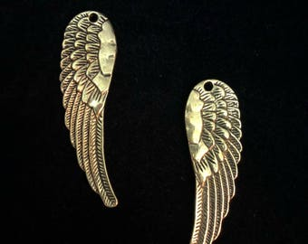 Angel Wing charms  Reversible Double Sided Charm 59x17mm 4 pieces Antique Gold finish 27-30-AG