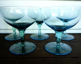 vintage 1960s blue champagne glasses set of five