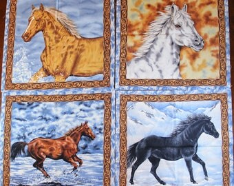Horse Panels fabric and border by Nature's Corner precut