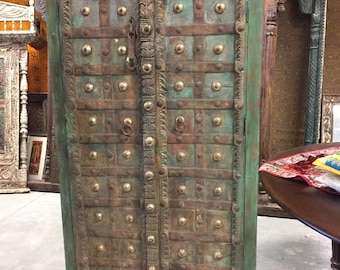 Antique Castle Doors Rustic Wood Iron Brass Armoire Green Cabinet Storage Southern Eclectic Decor