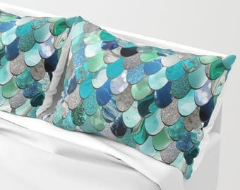 Mermaid Pillow Sham - Set of 2 - Mermaid Bedding - Available in Four Colors and Two Sizes