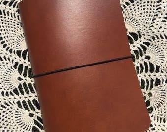 JournalJot (B6 Slim) - Cognac - Leather Traveler's Notebook/Fauxdori