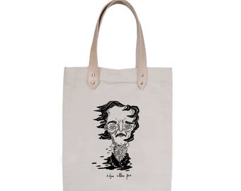 Tote Bag With leather straps - Screenprint Over Cotton Canvas Tote Bag Edgar Allan Poe
