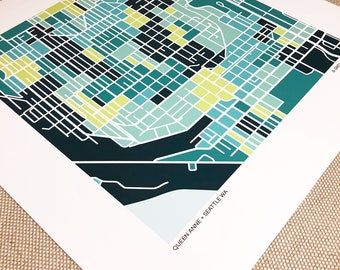 Queen Anne Seattle Map Print