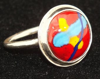 Sterling silver ring, Enameled Cabochon, Size 9.5 , Red, Free Shipping, Hand Made USA, 1980's, Nickle free, One of a kind,