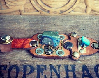 411 Steampunk Burning Man Assemblage Bracelet Recycled Jewelry Industrial Machine Age