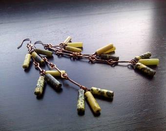 Long green earrings Long earrings Long dangle earrings Green stone earrings Copper earrings Rustic earrings Green stone jewelry Gift for her
