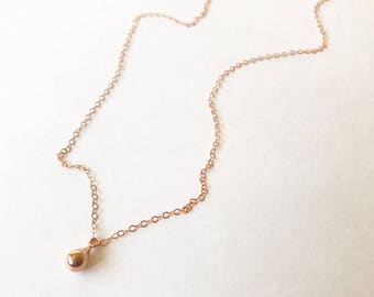 Rose Gold Ball Charm Necklace