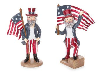 Fairy Garden Accessories Uncle Sam Fairy Figurine Independence Day Fourth of July Decoration July 4th God Bless America Patriotic Miniature