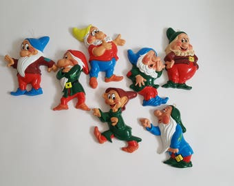Vintage West Germany Disney 7 Dwarves Dwarf 8 inch Complete Set Snow White Original Hang Tags Collectible Nursery Wall Collage Decor Movie