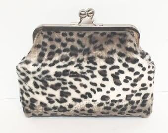 Snow leopard faux fur clip frame purse
