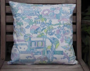 REDUCED *** Handmade 40 cm cushion cover made from vintage Sanderson fabric called 'A Bird's Eye View'