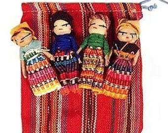 "Guatemalan Worry Dolls 2"" with bag for crafts"