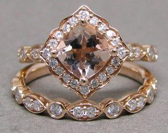 Petite 6mm Cushion Morganite Engagement Ring Diamond Kite Set 14k Rose Gold Wedding Bridal Ring Set 1 1/2ct