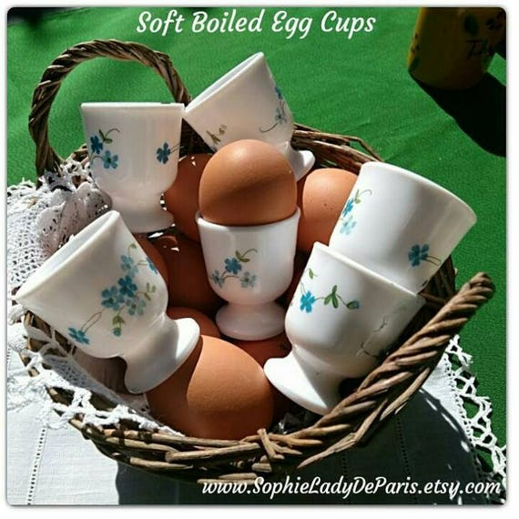 Free Ship. 6 French Egg Cups Vintage French Milk Glass Soft Boiled Egg Cups Blue Flowers  Kitchenware #sophieladydeparis