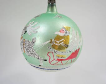 """Vintage Christmas Ornament, Large Glass Mercury Ornament, Green  3 1/2"""" Hand Painted Santa Reindeer Holiday Decor, Made Poland, Free Ship"""