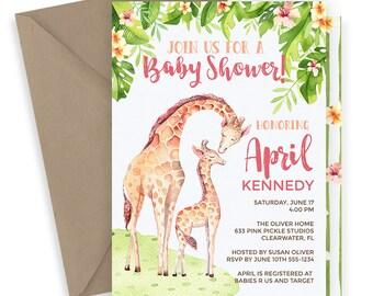 Giraffe Baby Shower Invitation / Giraffe Baby Shower / Giraffe Invitation / Printable Invitation / Giraffe Party / Baby Giraffe | 633