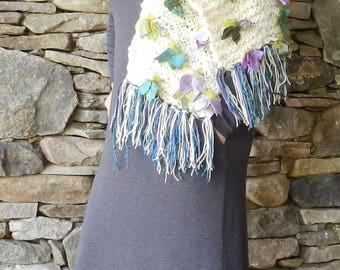 Luxurious Hand Knit White Shawl Wrap with Turquoise Purple Green Silk Flowers - Flower Wrap