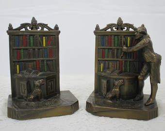 Kronheim and Oldenbusch Librarian at Work Bookends, K & O Company Bookends, 1920's