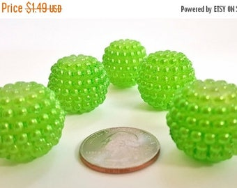50% OFF Big Lime Green Razzleberry Acrylic Beads. 22 or 23mm in Size.  5 Beads.  Fun and Funky!!  Great For Kids Jewelry or For The Young At