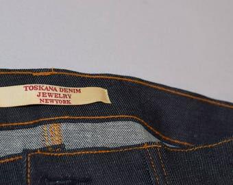 Toskana Loyola pink color Ostrich trim ripped sikinny jeans