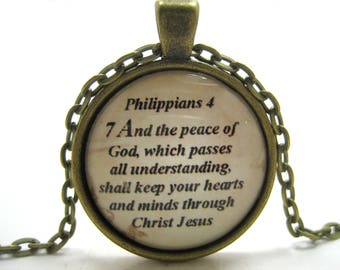 Bible Verse Necklace - Scripture Necklace - Philippians 4:7 Peace of God - Christian Necklace - Gift Box Included