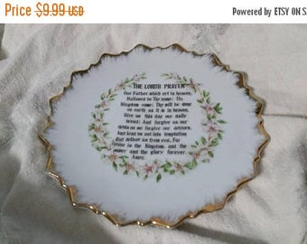 "On Sale IAAC Ceramics  Religious Decor ""The Lord's Prayer"" 7 inch Decorative Plate with Gold Trim"