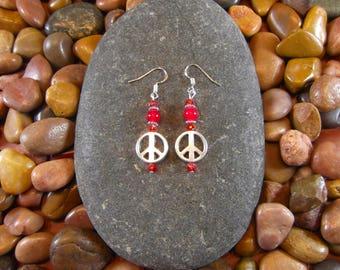 Red Jade Peace Earrings - Peace, Peace Symbol, Peace Sign, Peace Earrings, Peace Jewelry, Hippie Jewelry, Hippie Earrings, Hippy Earrings