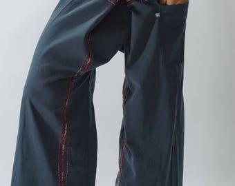 F80067 Hand stitch Unisex Thai fisherman pants, stitch Inseam design for Thai Fisherman Pants Wide Leg pants, Wrap pants