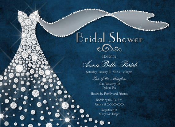 Navy silver bridal shower invitation diamond dress bridal shower il570xn filmwisefo