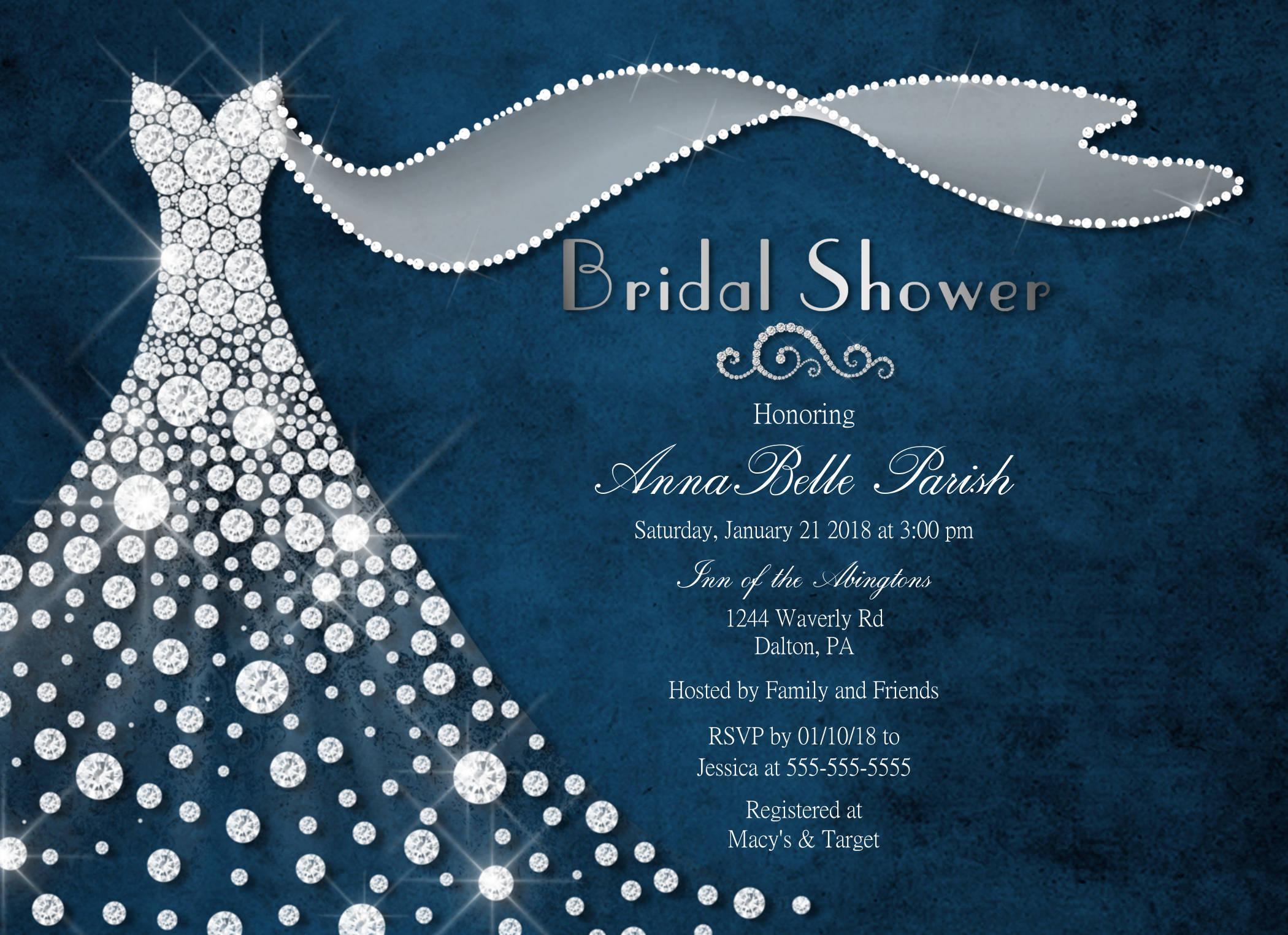 Blue and Silver Wedding Dress Bridal Shower invitations Dress – Wedding Dress Shower Invitations