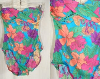 Vintage 1990s Swimsuit | Tropical High Cut Swimsuit | Strapless Bathing Suit