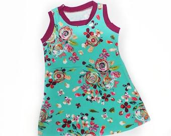 Sprayed Blooms Tank Dress, Girls Knit Dress, Summer Dress, Play Dress
