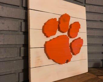 "14"" x 14"" 3-D Clemson Tiger Paw (Orange on White)"
