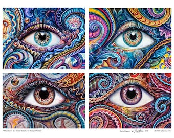 Reflections - Large Paper Fine Art Print by Morgan Mandala and Randal Roberts - Paisley Psychedelic Abstract Eyes 18in x 24in Poster