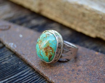 Sterling Turquoise Ring. Handmade  . Rustic . Earthy . Boho . Hand Stamped Stars