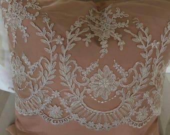 18in silk and corded lace overlay pillow cover