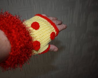 yellow and Red mittens red polka dots