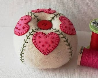 Handmade Pincushion Felted Wool Pink Hearts on a Winter White Pincushion