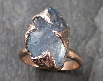 Raw uncut Aquamarine Solitaire Ring Custom One Of a Kind Gemstone Ring Bespoke byAngeline 1062
