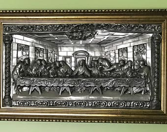 """The Last Supper Metal Art High Relief 30"""" Large Wall Plaque Embossed Framed Unique Vintage"""