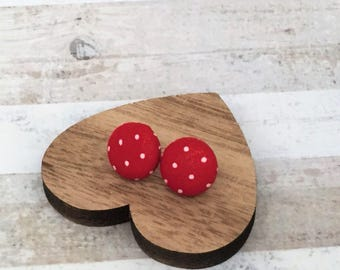 Silver Plated Button Earrings - Fabric Button Studs - Red Spot