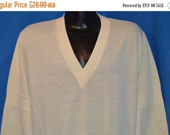 ON SALE 80s Uptown Express by Lee Mesh V-Neck Long Sleeve Off-White Vintage t-shirt Large