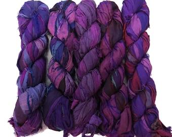New! 50g Recycled Sari Silk Ribbon, 25-28 yards , color Florence
